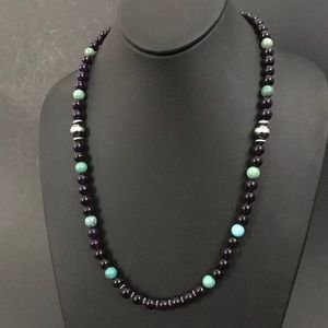 Jewelry - S.S. Amethyst With Turquoise Bead Necklace.22 Inch
